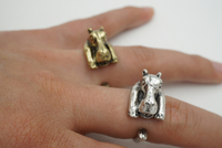 2016 Fashon Animal Ring Bronze Silver Tone Hippo Rings for Women wrap Stretch Adjustable ring