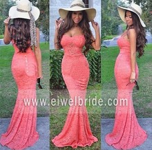 Sexy sweetheart spaghetti lace mermaid big ass tight evening dress