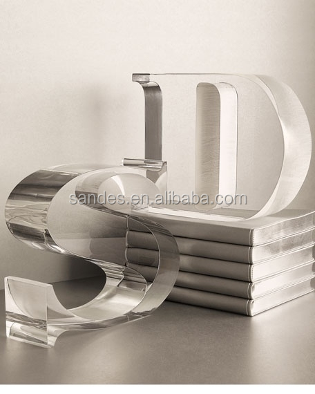 Unique Plastic Clear Acrylic Bookends with Metal