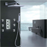 "Chrome Finish Wall Mounted 8"" Square Rain Shower Head Faucet 3 Handles Valve Mixer Tap W/ Massage Jets W/ Hand Shower"