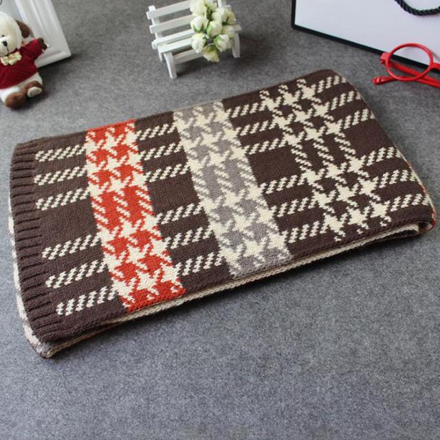Knitting pattern cute children boys girls plaid winter warm neck scarf