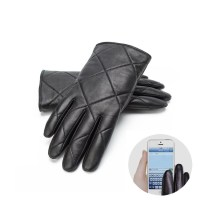 classical black men leather gloves smart phone