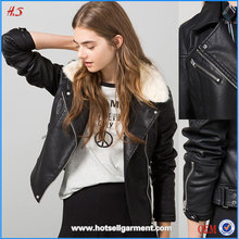 China Wholesale Market Classic Style In Clothes Fur Collar Black Imitation Leather Aviator Jacket For Ladies