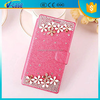 Fashion pearl flower protective holster leather case for lenovo vibe z2