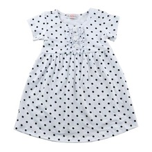 Lanye factory price wholesale botique baby print black dot and short sleeve girls dress