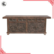 Grotesque Style Vintage Wooden Carved Console Table