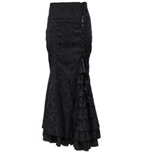 31686 Black Jacquard With Side Corseted Accent Back Fishtail Long Skirt