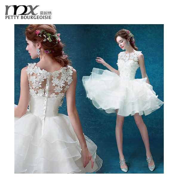 Charming gown ball lace wedding mini skirt dresses one piece girls party dresses porm dress