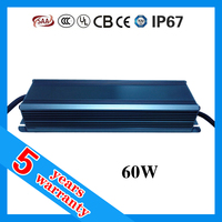 5 years warranty CE ROHS ETL TUV SAA approved waterproof IP67 60 watt power output dc 60-72V 0.9A cc LED Driver 60W 900mA
