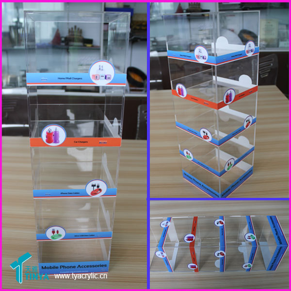 Manufacturer Clear acrylic cell phone charger display 5 tier plexiglass Cell Phone Case phone accessory display stand