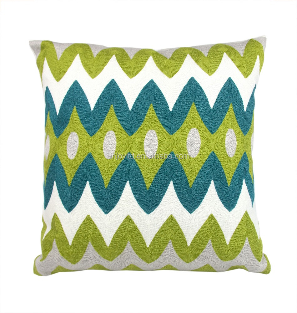Home Full Embroidery Geometric Links Accent Decorative Throw Pillow Cover Sofa Cushion