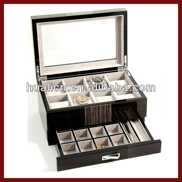 Wood 8 Watch Box with Cufflink Pen Storage Cell