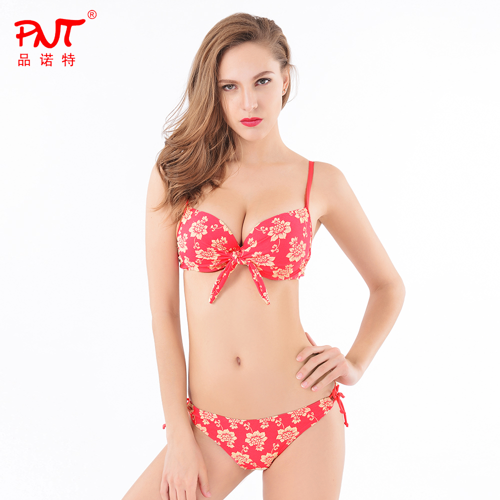 2016PNT Fashion Swimsuit Top Quality embroidery flowers fabric free transportation Designer String Biquini Open girl bikini