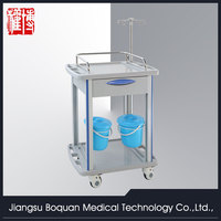 One drawer plastic-steel columns with two buckets medium size ABS hospital trolley