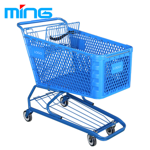 Heavy duty grocery supermarket plastic shopping trolley cart