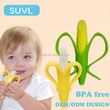 new born baby suppliers china bpa free teething phase silicone baby banana teething toothbrush