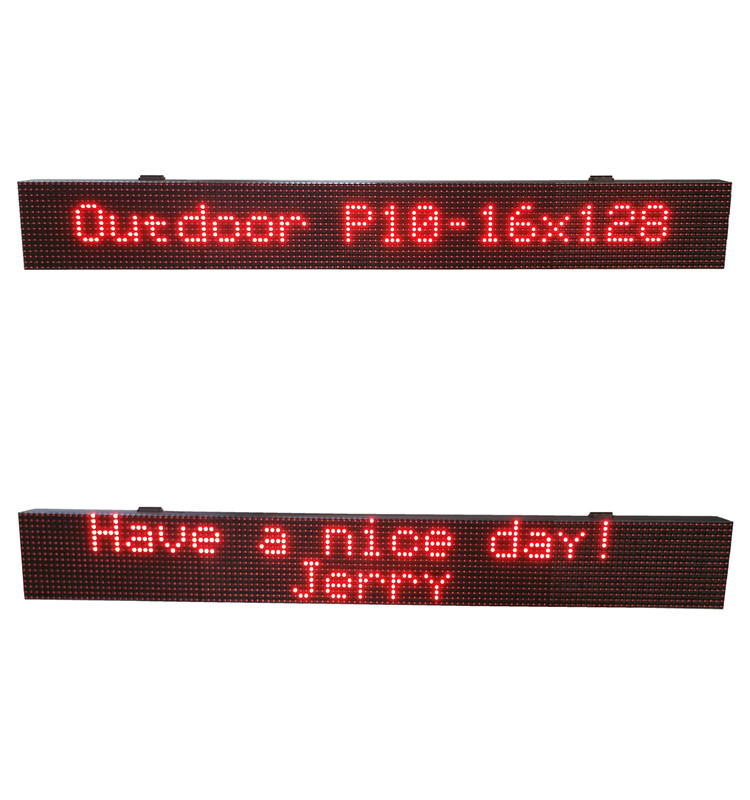 P10-16x128 outdoor led light display signs red color LED sign/display with RS 232 communication
