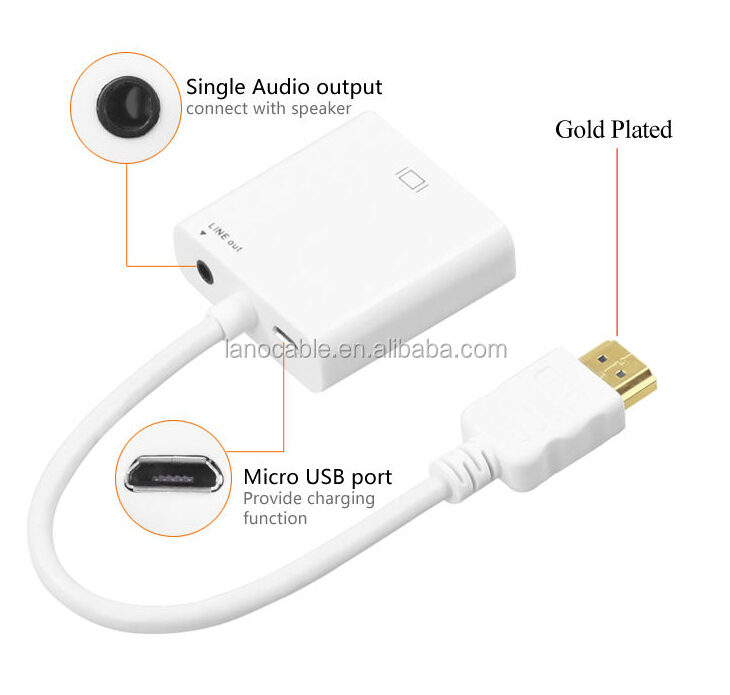 Hot selling3.5mm jack audio+hdmi to vga cable ROHS certified vga to hdmi converter