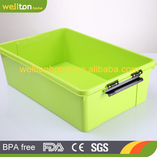 2017 top sale Various color heavy-duty plastic storage box with wheels