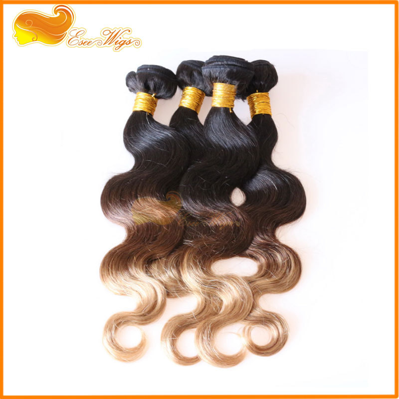 Qingdao Factory Wholesale Levis Jeans Ombre Brazilian Hair Extensions Body Wave 3 tone Ombre Hair Weaves 1b 4/27 Color