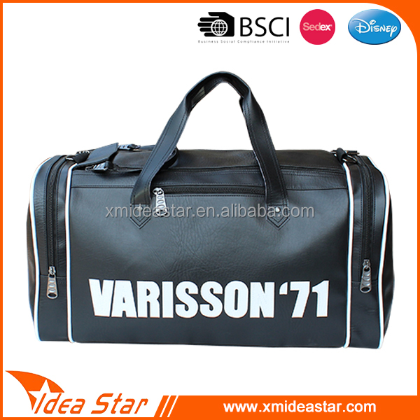 PU leather duffel bag with secret compartment for travel customized logo