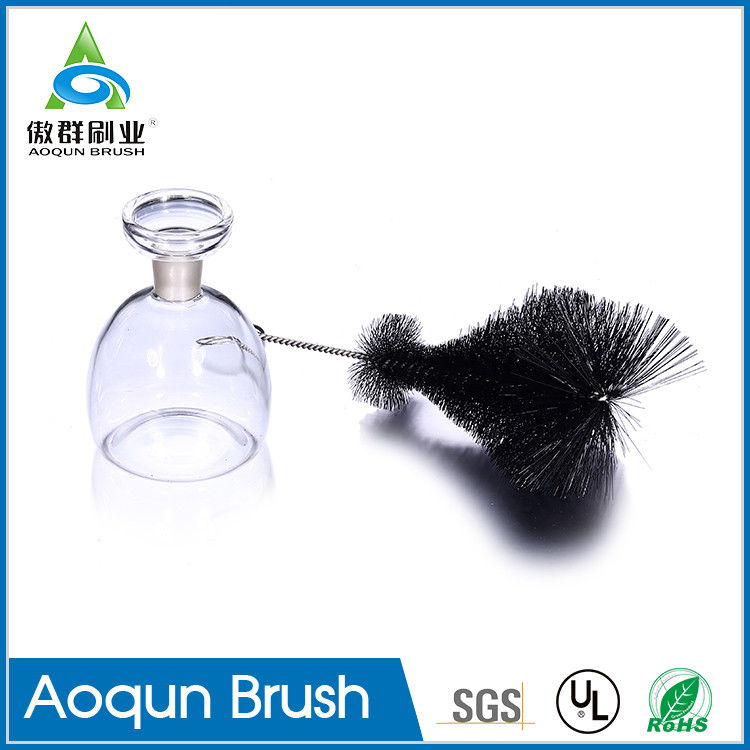 Factory direct supply nylon black wine bottle brush,bar glass cleaner brush