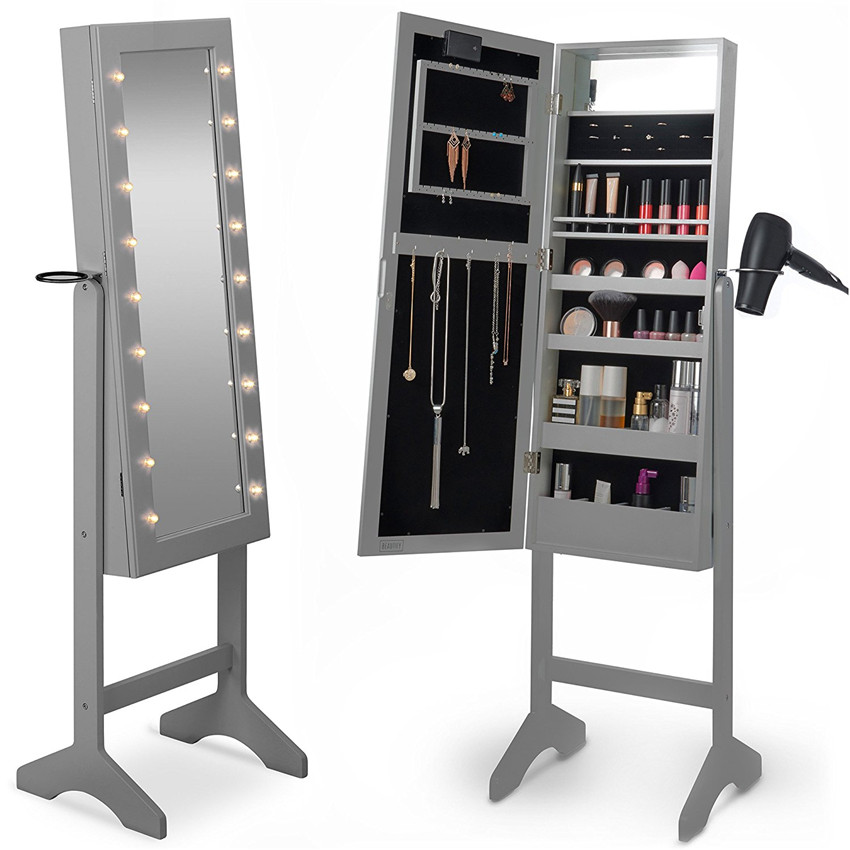 The whole body led mirror with lockable cabinet to storage something