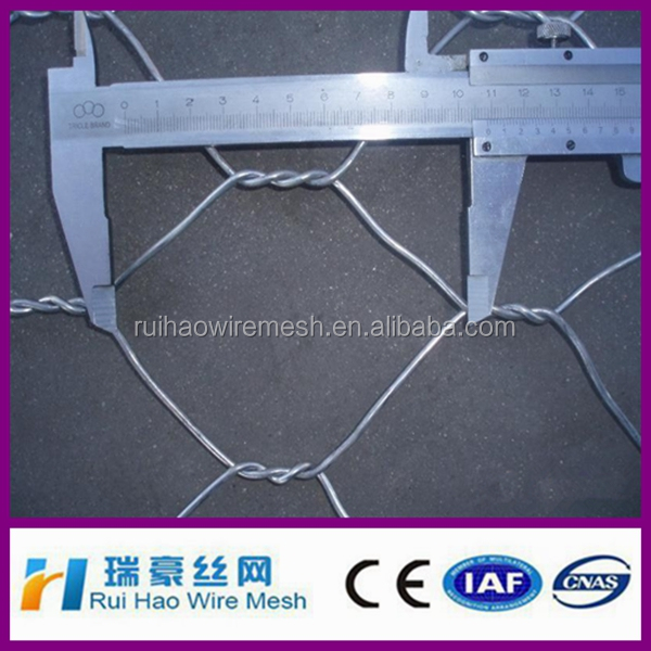 hexagonal wire mesh cage used as gabion box