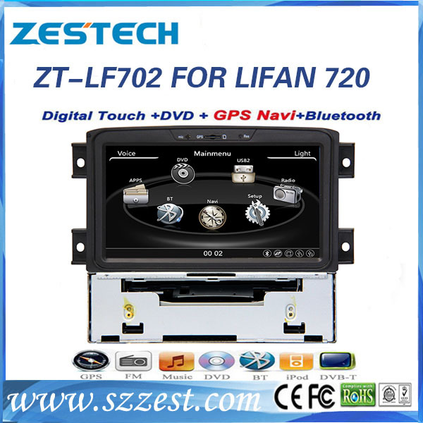ZESTECH best price Car Audio Navigation System for Lifan Cebrium/Lifan 720 car dvd with GPS, BT, canbus, ipod, RDS+factory