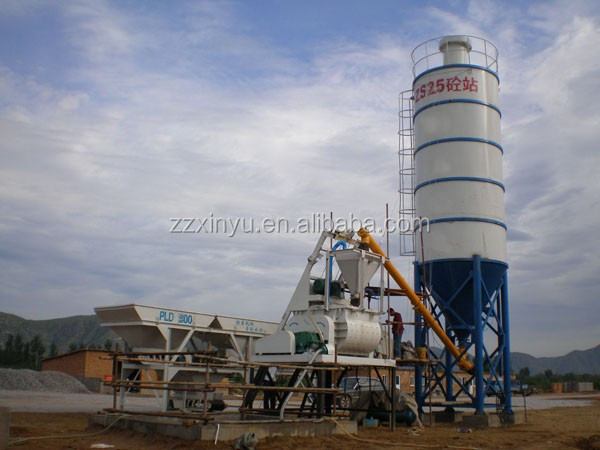 Xinyu HZS25 skip hopper concrete batching plant for concrete products