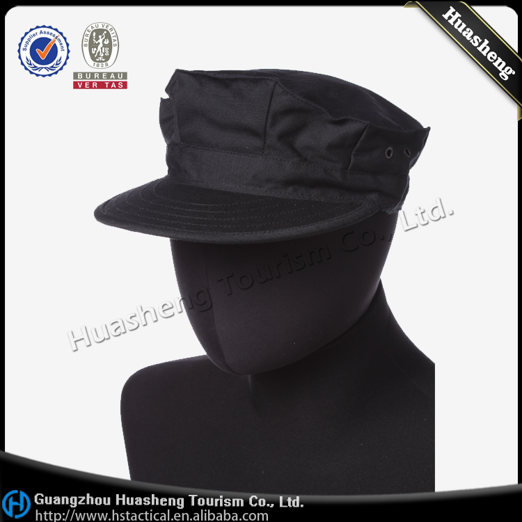 Military Army Training Black Octagonal Hat Cap