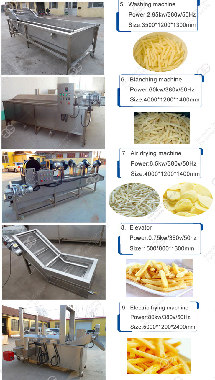 Frozen Potato Chips Production Line Banana Deep Frying Machinery Potato French Fries Making Machine