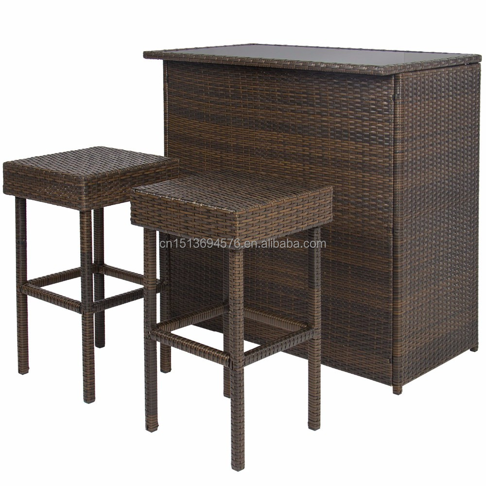 Wholesale Rattan Wicker 3pc Cheap Outdoor Bar Table Used Restaurant Furniture Outdoor