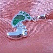 Transparent colorful glass footprint charm foot pendant