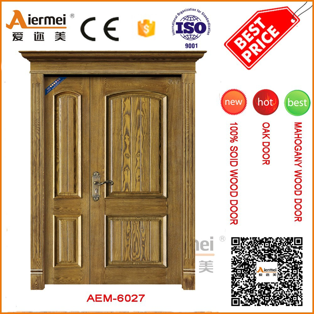 Used wood exterior doors unequal double entrance main gate for Main entrance double door design
