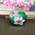 cheap creative chinese style lotus semicircle crystal glass paperweight
