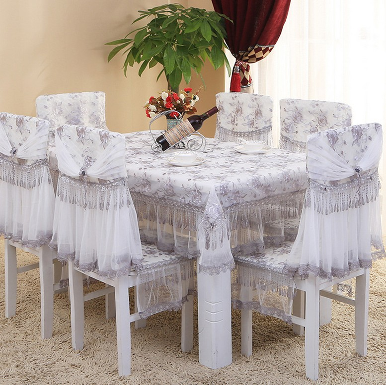 5/7-Pieces Embroidery Luury Table Cloth Set Tassels Tablecloths For The Table Lace Decorative Table Cover Chair Cover For Home