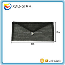 factory custom utility black organza mesh makeup bag with button envelope bag