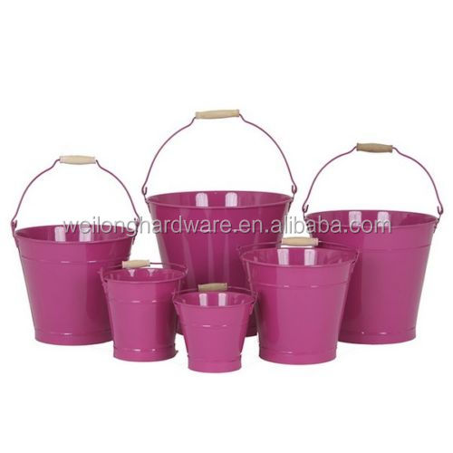 Good Quality Customized 8L 10L 12L 15L 20L Metal Galvanized Buckets with wooden handle