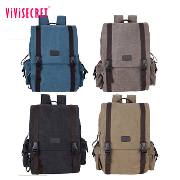 High Quality Old School Solid Canvas Knapsack Backpack Hiking Backpack Strong Laptop Backpack Bucket School Bag