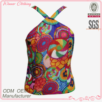 Trendy designed sexy woman top with candy color