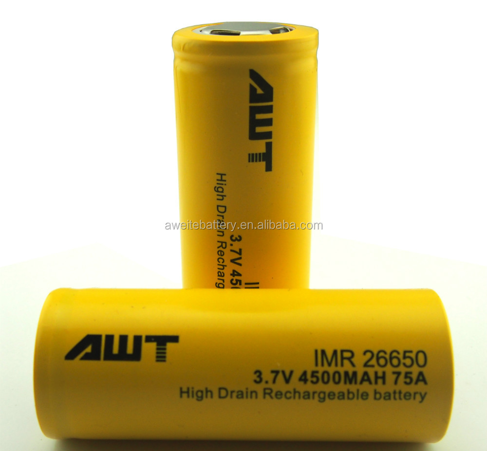 High quality AWT 26650 4500mah 75A rechargeable 3.7v battery gel battery 12v 150ah