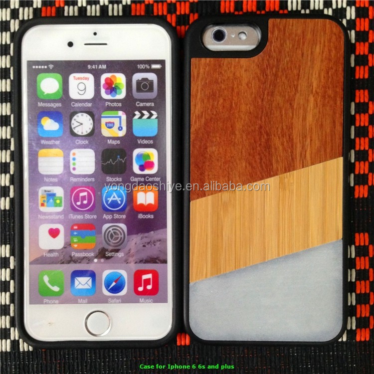 Fashion design hard wood and stone wholesale cell phone case for iphone