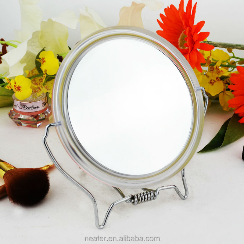 Free standing shaving magnifying wedding table decor mirror with plastic frame, shower vanity table mirror