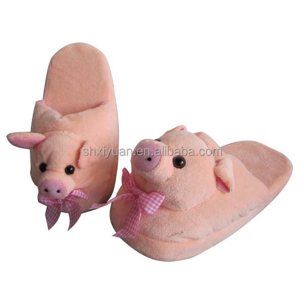 Custom warming home slippers pink pig plush adult indoor slipper