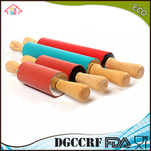 NBRSC Non-Stick Silicone Surface Rolling Pin Wooden Rolling Pin Handle for Rolling Dough, Baking