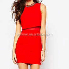 New fashion lady beaded dress in red with mesh waist part