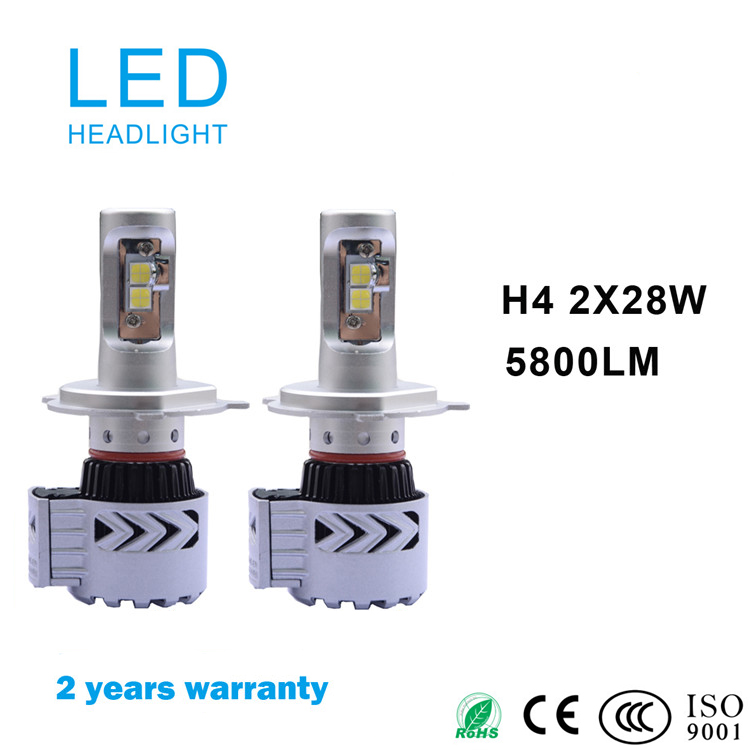 High power led car headlight h4 5800lm 12v 24v white 6500k mustang headlights