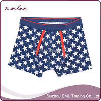 Star printing panties made for man mens cotton boxer briefs
