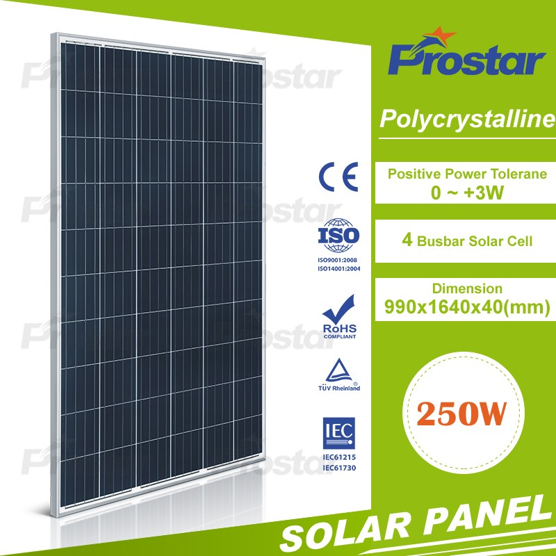 1640*990*40mm Size and Polycrystalline Silicon Material 250w price per watt solar panel accessory